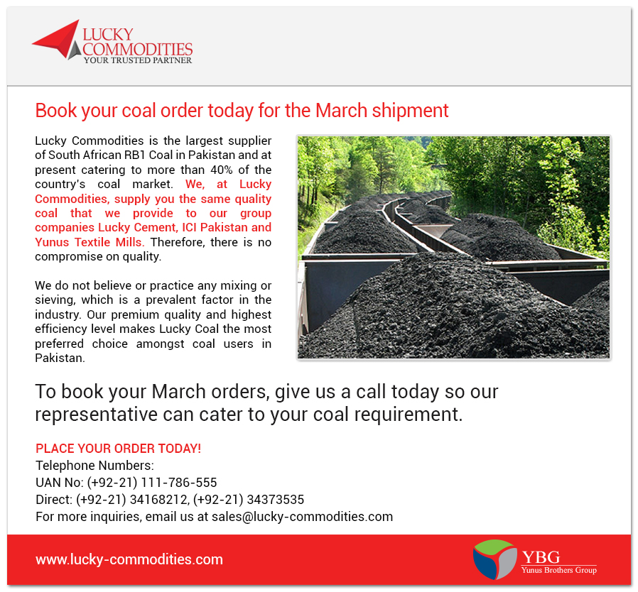 Book you Coal order for the March shipment